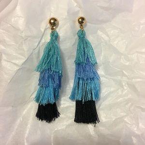 NWOT Blue Multicolored Tiered Tassel Earrings